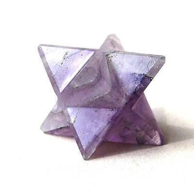 Amethyst Hand Cut Merkaba Star - Krystal Gifts UK