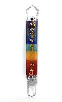 Sanskrit Engraved Hand Crafted Seven Chakra Crystals Flat Healing Wand with Clear Quartz - Krystal Gifts UK