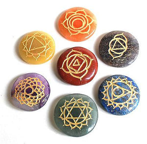 Set of Seven Chakra Healing Crystal Palm Stones, Hand Engraved With Sanskrit Chakra Symbols - Krystal Gifts UK