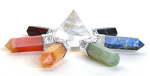 Clear Quartz & Seven Different Chakra Crystal Hand Made Powerful Energy Generator - Krystal Gifts UK