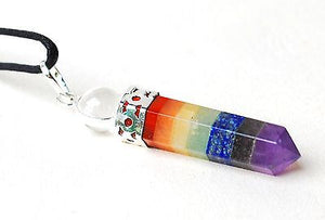 Seven Crystals Chakra Pendant Including Clear Quartz Sphere - Krystal Gifts UK
