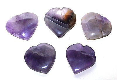Amethyst Crystal Heart Palm Stone - Krystal Gifts UK