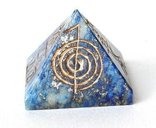 Load image into Gallery viewer, Lapis Lazuli Crystal Pyramid Engraved With Reiki Symbols - Krystal Gifts UK