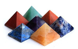 Set of Seven Crystal Chakra Healing Pyramids - Krystal Gifts UK
