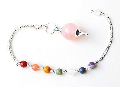 Rose Quartz Crystal Dowsing Pendulum With Chakra Stones - Krystal Gifts UK
