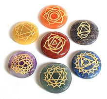 Load image into Gallery viewer, Set of Seven Chakra Healing Crystal Palm Stones, Hand Engraved With Sanskrit Chakra Symbols - Krystal Gifts UK