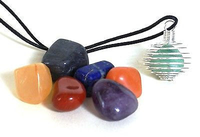 Tumble Stone Cage Pendant Set of Seven Different Chakra Crystals - Krystal Gifts UK