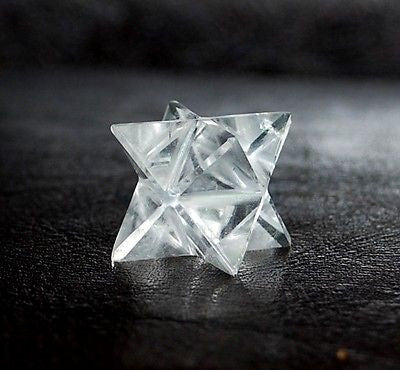 Clear Quartz Hand Cut Crystal Merkaba Star - Krystal Gifts UK