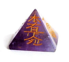 Load image into Gallery viewer, Amethyst Crystal Pyramid Hand Engraved with Reiki Symbols - Krystal Gifts UK