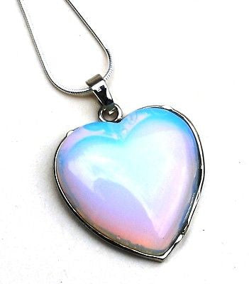 Opalite Heart Crystal Pendant With Silver Chain - Krystal Gifts UK