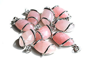 Rose Quartz Wrapped Crystal Stone Pendant & Silver Chain - Krystal Gifts UK