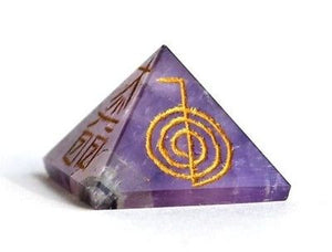 Amethyst Crystal Pyramid Hand Engraved with Reiki Symbols - Krystal Gifts UK