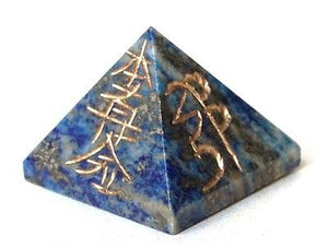 Lapis Lazuli Crystal Pyramid Engraved With Reiki Symbols - Krystal Gifts UK