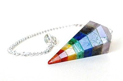 Seven Chakra & Clear Quartz Crystal Dowsing Pendulum - Krystal Gifts UK