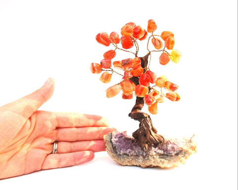 Natural Red Carnelian Crystal Stone Chips Wire Wrapped Gemstone Tree