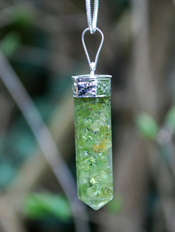 "New! Peridot Crystal Orgone Pendant Inc 18"" Silver Plated Snake Chain"