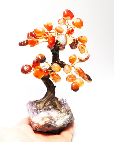 New! Unique Natural Orange Carnelian & Amethyst Base Crystal Stone Chips Gemstone Tree 323g