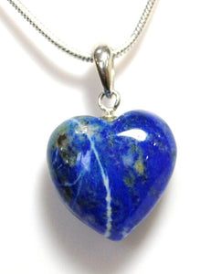 New! Lapis Lazuli 925 Sterling Silver Clasp & Chain Necklace Crystal Heart Pendant