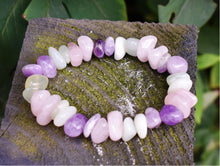 Load image into Gallery viewer, New! Amethyst Rose Quartz & Green Jade Natural Crystal Stone Bracelet