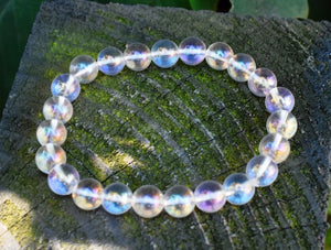 New! Natural Polished Clear Aura Quartz Crystal Stone Beads Bracelet