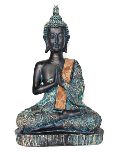 New! Meditation Blue/Black Buddha Figure Statue 23cm