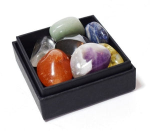 New! Natural Chakra Crystal Tumble Stone Set Of Seven Inc Gift Box