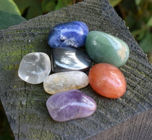 Load image into Gallery viewer, New! Natural Chakra Crystal Tumble Stone Set Of Seven Inc Gift Box