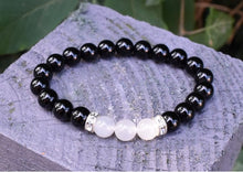 Load image into Gallery viewer, New! Natural Black Agate & Moonstone Crystal Stone Beads Power Bracelet Inc Diamantes