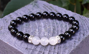 New! Natural Black Agate & Moonstone Crystal Stone Beads Power Bracelet Inc Diamantes