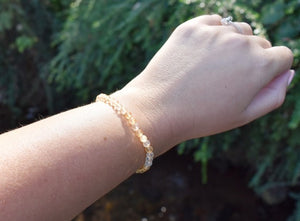 New! Citrine Faceted Yellow Crystal Stone Beads Bracelet