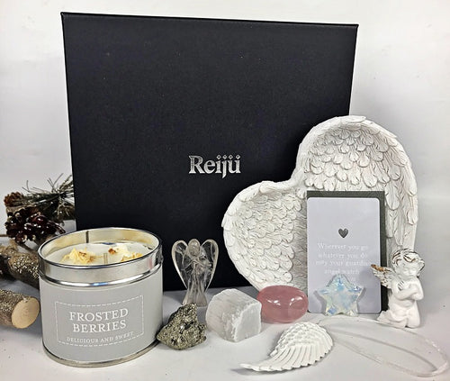 New! Large Luxury Healing Crystals, Angels, Candle Reiju Silver Gift Set Box