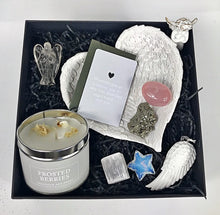 Load image into Gallery viewer, New! Large Luxury Healing Crystals, Angels, Candle 'Christmas' Reiju Silver Gift Set Box