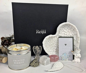 New! Large Luxury Healing Crystals, Angels, Candle 'Christmas' Reiju Silver Gift Set Box