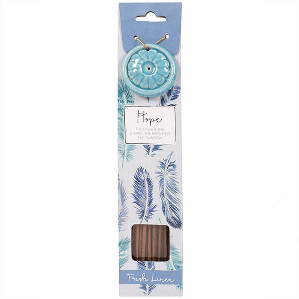 Fresh Linen Incense Sticks (x 40) with Ceramic Holder - Gift of HOPE