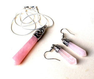 Rose Quartz Crystal Pendant & Earring Gift Set Gift Wrapped - Krystal Gifts UK