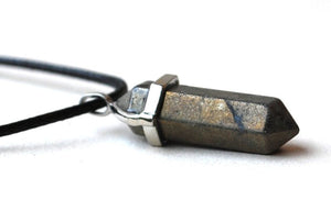 "Gold Pyrite "" Fools Gold"" Crystal Stone Pendant Point Jewellery Gift - Krystal Gifts UK"
