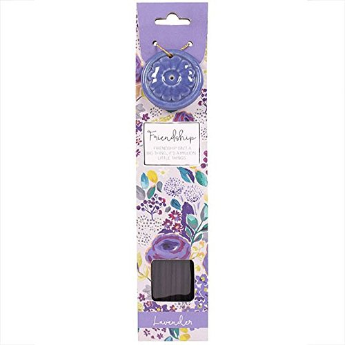 Lavender Incense Sticks (x 40) with Ceramic Holder - Gift of FRIENDSHIP