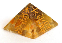 Load image into Gallery viewer, Yellow Jade Orgone Crystal Chips Engraved Pyramid - Krystal Gifts UK