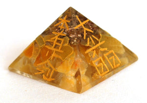 Yellow Jade Orgone Crystal Chips Engraved Pyramid - Krystal Gifts UK