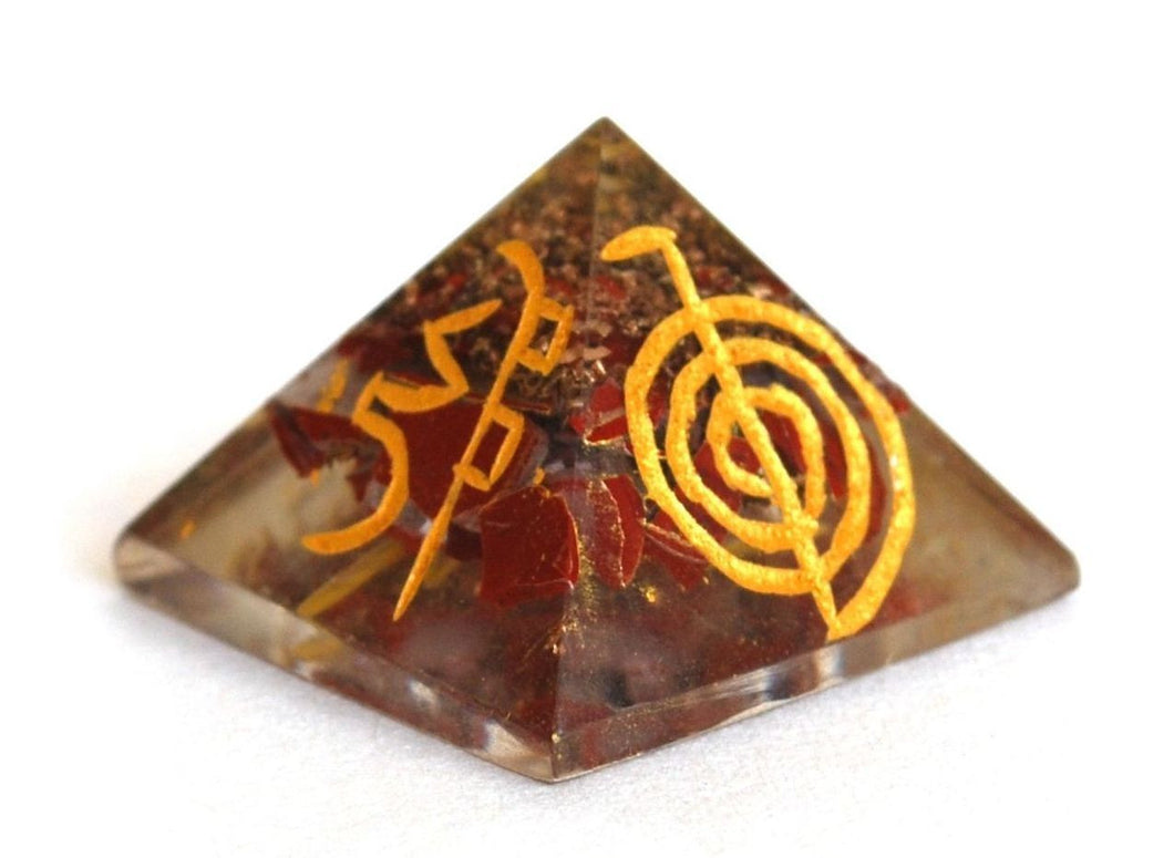 Red Jasper Engraved Orgone Crystal Chips Pyramid - Krystal Gifts UK