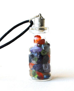 MIxed Chakra Crystal Gem Chip Bottle Pendant - Krystal Gifts UK