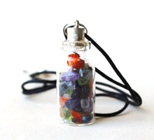 Load image into Gallery viewer, MIxed Chakra Crystal Gem Chip Bottle Pendant - Krystal Gifts UK