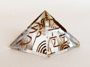 Clear Quartz Pyramid Engraved With Reiki Symbols - Krystal Gifts UK