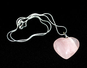 Rose Quartz Heart Crystal Stone Pendant Necklace on Silver Chain - Krystal Gifts UK