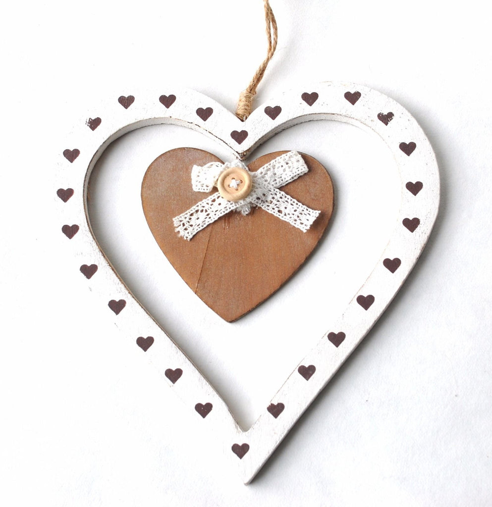 Shabby Chic White Double Wooden Hanging Heart 18cm approx Ornament Gift Decorative - Krystal Gifts UK