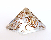 Load image into Gallery viewer, Clear Quartz Pyramid Engraved With Reiki Symbols - Krystal Gifts UK