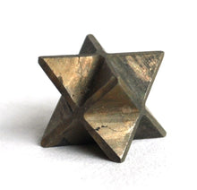 "Load image into Gallery viewer, Pyrite ""Fools Gold"" Crystal Stone Hand Cut Merkaba Star - Krystal Gifts UK"