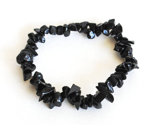 Black Tourmaline Chip Crystal Bracelet - Krystal Gifts UK