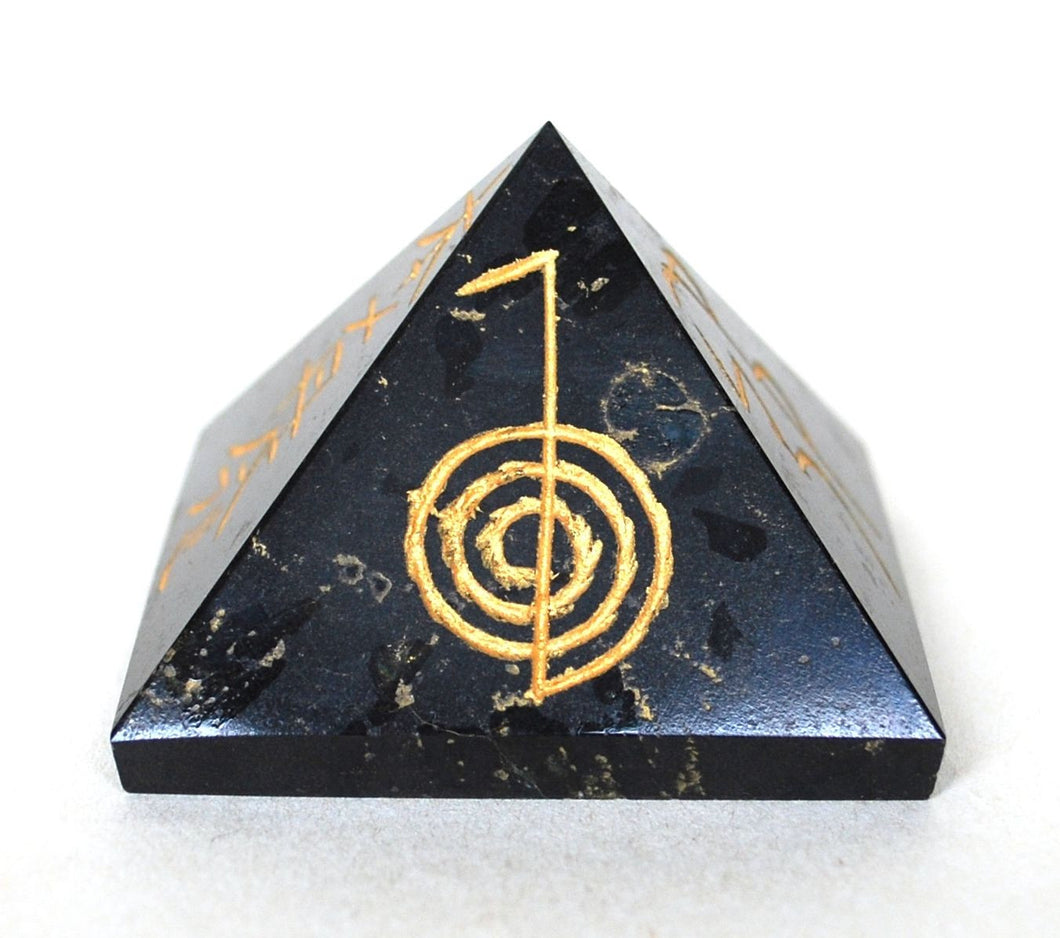 Large Engraved Black Tourmaline Crystal Stone Pyramid - Krystal Gifts UK