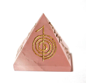 Rose Quartz Crystal Pyramid Engraved With Reiki Symbols - Krystal Gifts UK
